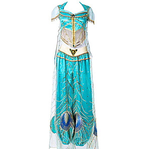 cheap Movie & TV Theme Costumes-Aladdin Princess Jasmine Cosplay Costume Women's Movie Cosplay Mesh Mini Me Blue Top Pants Shawl Children's Day Masquerade Tulle / Sleeveless