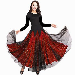 cheap Ballroom Dancewear-Ballroom Dance Dress Scattered Crystals Style Lace Ruffles Women's Performance Long Sleeve Natural Milk Fiber