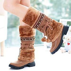 cheap Women's Boots-Women's Boots Low Heel Round Toe PU Mid-Calf Boots Fall & Winter Black / Purple / Gold