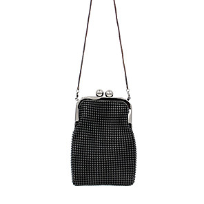cheap Clutches & Evening Bags-Women's Beading Polyester / Alloy Evening Bag Solid Color Black