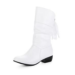 cheap Women's Boots-Women's Boots Chunky Heel Round Toe PU Fall & Winter Red / White / Black