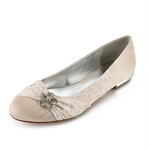 cheap Wedding Shoes-Women's Wedding Shoes Glitter Crystal Sequined Jeweled Flat Heel Round Toe Rhinestone Lace Classic / Sweet Spring & Summer / Fall & Winter Champagne / White / Ivory / Party & Evening