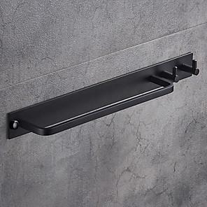 cheap Towel Bars-Towel Bar Black Wall Mounted Bathroom Towel Rack Aluminium Towel Bar Holder with Double Robe Hooks Bathroom Hardware Pendant
