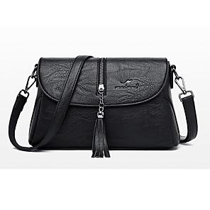 cheap Clutches & Evening Bags-Women's Tassel PU Crossbody Bag Solid Color Black / Wine / Purple