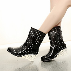 cheap Women's Boots-Women's Boots Rain Boots Wedge Heel Round Toe Classic Daily Polka Dot PVC Booties / Ankle Boots Wine / Black