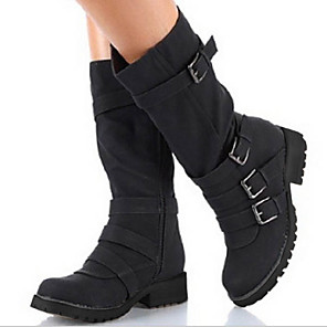 cheap Women's Boots-Women's Boots Flat Heel Round Toe PU Mid-Calf Boots Fall & Winter Black / Brown