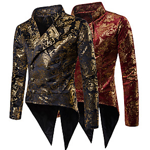 cheap Historical & Vintage Costumes-Disco Disco 1980s Suits & Blazers Men's Sequins Costume Golden / Red Vintage Cosplay Party Halloween Club Long Sleeve / Tuxedo