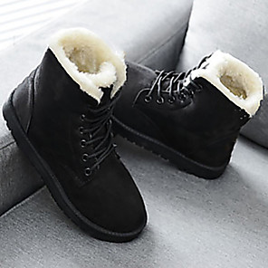 cheap Women's Boots-Women's Boots Snow Boots Creepers Round Toe PU Mid-Calf Boots Winter Black / Red / Beige