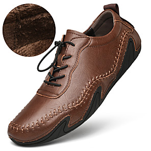cheap Men's Oxfords-Men's Leather Shoes Leather / Nappa Leather Spring / Fall & Winter Business / Casual Oxfords Walking Shoes Waterproof Black / Light Brown / Dark Brown