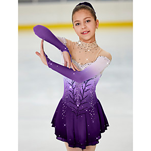 cheap Ice Skating Dresses , Pants & Jackets-Figure Skating Dress Women's Girls' Ice Skating Dress Light Yellow Yan pink Purple Halo Dyeing Spandex High Elasticity Competition Skating Wear Warm Handmade Jeweled Rhinestone Long Sleeve Ice