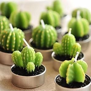 povoljno Praktični poklončići-6pcs / set home decor kaktus svijeća stol čaj svjetlo vrt mini vosak zelene svijeće za vjenčanje rođendan ukras nasumično