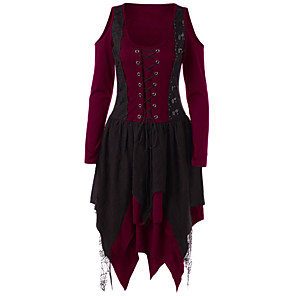 cheap Historical & Vintage Costumes-Plague Doctor Retro Vintage Medieval Renaissance Dress Masquerade Women's Costume Black / Purple / Burgundy Vintage Cosplay Party Halloween Long Sleeve
