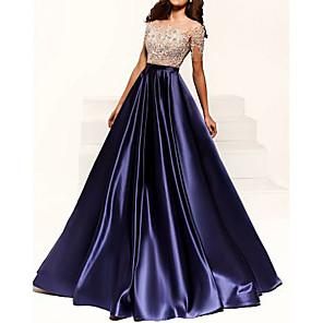 cheap Latin Dancewear-A-Line Color Block Blue Engagement Formal Evening Dress Illusion Neck Short Sleeve Floor Length Satin with Beading Appliques 2020