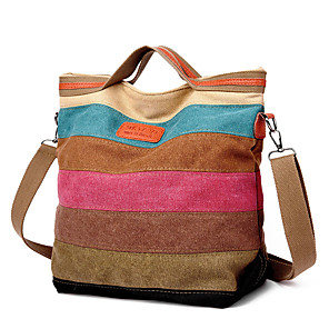 cheap Handbag & Totes-Women's Zipper Canvas Tote Striped Rainbow / Fall & Winter