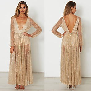 cheap Historical & Vintage Costumes-Diva Disco 1980s Dress Women's Sequins Costume Golden Vintage Cosplay Prom Long Sleeve Floor Length A-Line