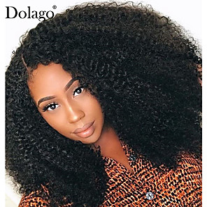 cheap Human Hair Wigs-Human Hair 4x13 Closure Deep Part Lace Front Wig Deep Parting style Brazilian Hair Afro Curly Natural Wig 250% Density Smooth Women Comfortable Wedding Natural Hairline Women's Medium Length Human