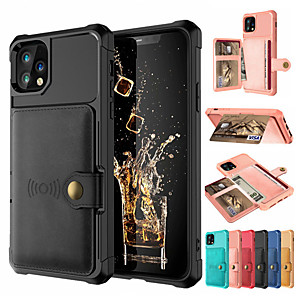 cheap iPhone Cases-Case Iphone11/11Pro/11ProMax/X/XS/XR/XS Max Wallet / Card Holder / Shockproof Back Cover Solid Colored PU Leather / PC
