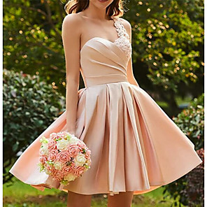 cheap Bridesmaid Dresses-A-Line Hot Pink Wedding Guest Cocktail Party Dress One Shoulder Sleeveless Short / Mini Satin with Pleats Appliques 2020