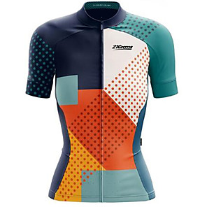 cheap Cycling Jerseys-21Grams Women's Short Sleeve Cycling Jersey Blue+Orange Bike Jersey Top Mountain Bike MTB Road Bike Cycling UV Resistant Breathable Quick Dry Sports Clothing Apparel / Stretchy / Italian Ink