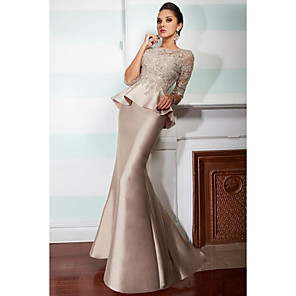cheap Cocktail Dresses-Mermaid / Trumpet Elegant Two Piece Formal Evening Dress Jewel Neck 3/4 Length Sleeve Floor Length Satin with Ruffles Appliques 2020