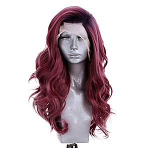 cheap Synthetic Lace Wigs-Synthetic Lace Front Wig Wavy Side Part Lace Front Wig Ombre Long Black / Red Synthetic Hair 18-26 inch Women's Adjustable Heat Resistant Party Ombre