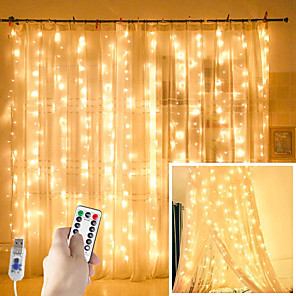 cheap LED String Lights-ZDM Window Curtain Lights 300 LED USB Powered Fairy String Lights with Remote IP65 Waterproof & 8 Settings Twinkle Lights for Christmas Parties Weddings Wall Decorations