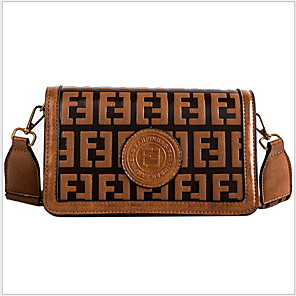 cheap Handbag & Totes-Women's Zipper PU Crossbody Bag Black / Brown / Red Brown