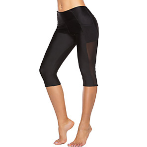 cheap Fitness Gear & Accessories-Women's High Waist Yoga Pants Pocket Capri Leggings Butt Lift Breathable Moisture Wicking Black Mesh Gym Workout Fitness Sports Activewear High Elasticity Skinny