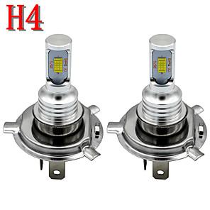 cheap Car Headlights-2pcs 3000K H4 SMD3570 2leds 12-24V LED Auto Car Headlight Bulbs 80W Fog Light 4000LM Car Styling 6000K Led Automotivo