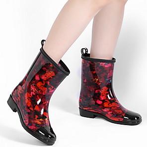 cheap Women's Boots-Women's Boots Rain Boots Low Heel Round Toe PU Fall & Winter Black / Leopard / Dusty Rose