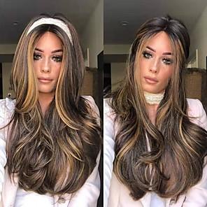 cheap Synthetic Trendy Wigs-Synthetic Wig kinky Straight Middle Part Wig Long Dark Brown / Dark Auburn Synthetic Hair 22 inch Women's Women Dark Brown