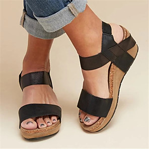 cheap Women's Sandals-Women's Sandals Wedge Sandals Spring & Summer Wedge Heel Peep Toe Daily PU Almond / Black / Khaki