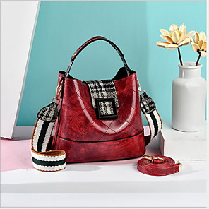 cheap Handbag & Totes-Women's Bags PU Leather Top Handle Bag for Daily Black / Blue / Red / Fall & Winter