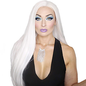 cheap Synthetic Lace Wigs-Synthetic Lace Front Wig Straight Free Part Lace Front Wig Long White Synthetic Hair 18-26 inch Women's Cosplay Soft Party White