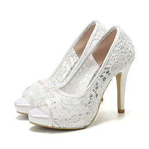 cheap Wedding Shoes-Women's Wedding Shoes Mesh Stiletto Heel Peep Toe Lace Sweet Spring &  Fall / Spring & Summer White / Party & Evening