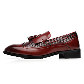 cheap Men's Slip-ons & Loafers-Men's Formal Shoes Leather Shoes Fall / Fall & Winter Casual Daily Office & Career Loafers & Slip-Ons Walking Shoes Leather Non-slipping Wear Proof Wine / Black / Brown / Tassel / Tassel