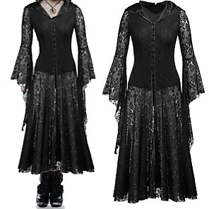 cheap Lolita Dresses-Witch Retro Vintage Victorian Dress Masquerade Women's Cotton Costume Black Vintage Cosplay Party Halloween