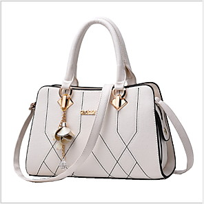 cheap Handbag & Totes-Women's Bags PU Leather Tote for Daily Wine / White / Black / Fall & Winter