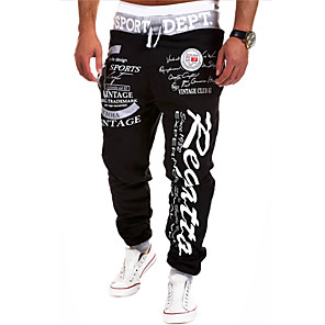 cheap Digital Voice Recorders-Men's Sporty / Basic Chinos / wfh Sweatpants Pants - Geometric Pattern / Letter Printed Patchwork Black White Blue US34 / UK34 / EU42 US36 / UK36 / EU44 US38 / UK38 / EU46