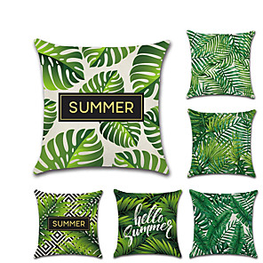 cheap Pillow Covers-6 pcs Linen Pillow Cover, Leaf Quotes & Sayings Traditional Christmas Throw Pillow