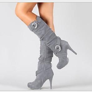 cheap Women's Boots-Women's Boots Stiletto Heel Round Toe Satin Fall Black / Light Brown / Gray