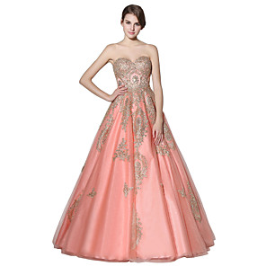 cheap Wedding Wraps-A-Line Open Back Cute Prom Dress Sweetheart Neckline Sleeveless Floor Length Lace Tulle with Crystals Appliques 2020