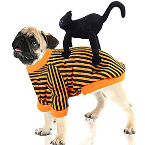cheap Historical & Vintage Costumes-Dog Costume Jumpsuit Winter Dog Clothes Orange Costume Polyster Striped Animal Cosplay Christmas M L XL XXL