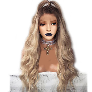 cheap Synthetic Lace Wigs-Synthetic Lace Front Wig Wavy Middle Part Lace Front Wig Ombre Long Ombre Color Synthetic Hair 18-26 inch Women's Adjustable Heat Resistant Party Ombre