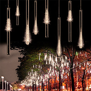cheap LED String Lights-2pack 30cm x8 16 Tubes String Lights 288 LED Falling Meteor Rain Lights for Holiday Party Christmas Tree Decoration Waterproof US EU Plug UK Adapter