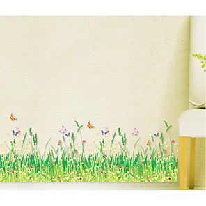 cheap Wall Stickers-Spring Wild Dog Tail Grass Bush Butterfly Baseboard Bedroom Living Room Balcony Corner Decoration AY7151
