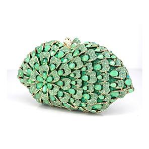 baratos Clutches & Bolsas de Noite-Mulheres Detalhes em Cristal / Flor Sintético Bolsa de Festa Floral Verde