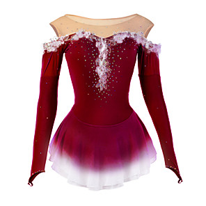 cheap Door Locks-Figure Skating Dress Women's Girls' Ice Skating Dress Sky Blue Dark Purple Yellow Flower Halo Dyeing Spandex Mesh High Elasticity Competition Skating Wear Breathable Handmade Novelty Dumb Light