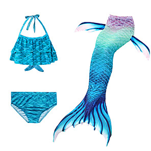 cheap Movie & TV Theme Costumes-Kids Girls' Active Cute The Little Mermaid Geometric Sleeveless Swimwear Blue