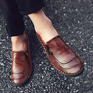 cheap Men's Slip-ons & Loafers-Men's Comfort Shoes Spring / Summer / Fall British / Preppy Daily Outdoor Loafers & Slip-Ons Walking Shoes Nappa Leather Non-slipping Wear Proof Light Brown / Dark Brown / Black / Winter
